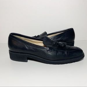 Vintage Enzo Angolini Black Leather Loafer Tassels